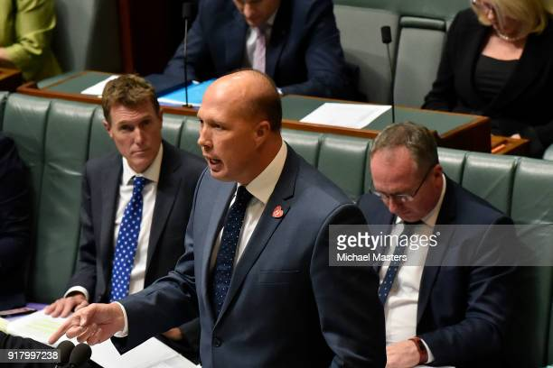 Peter Dutton during Question Time on February 14 2018 in Canberra Australia Mr Joyce announced last week that he had separated from his wife and was...