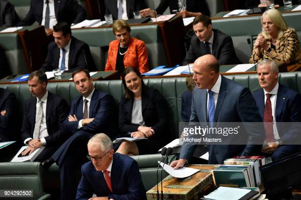 Peter Dutton Minister for Home Affairs and Minister for Immigration and Border Protection speaks during Question Time at Parliament House on February...