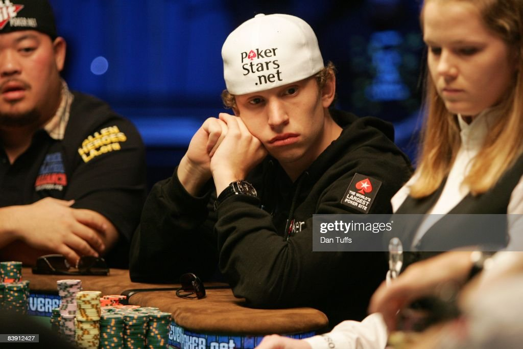Peter Eastgate playing the final table of the World Series of Poker in Las Vegas, Nevada on November 9, 2008.