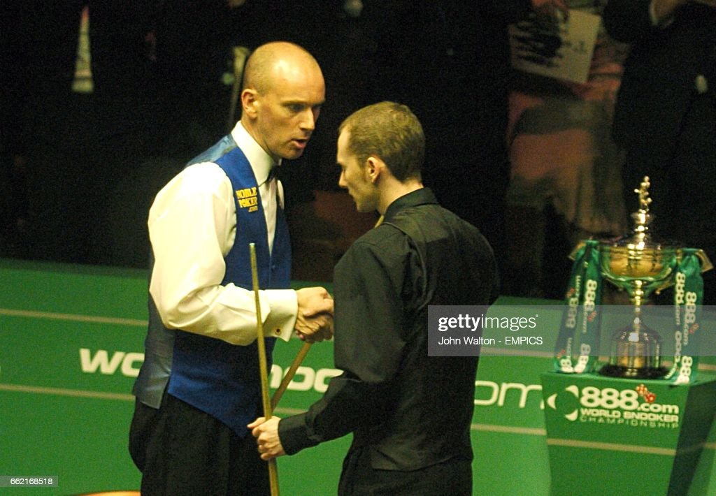 Peter Ebdon Shakes Hands With Graeme Dott After The World Snooker