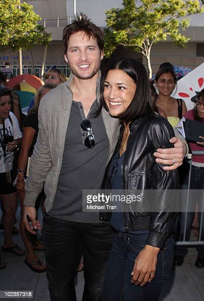 Peter Facinelli and Julia Jones attend the Eclipse fan frenzy held at Nokia Plaza LA LIVE on June 23 2010 in Los Angeles California