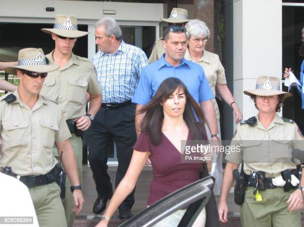 Peter Falconio's father Luciano brother Nick mother Joan and Joanne Lees leave Northern Territory Supreme Court in Darwin Thursday December 15 after...