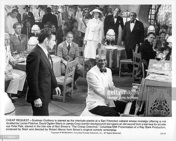 Peter Falk Louise Fletcher David Ogden Stiers and James Coco watch Scatman Crothers play the piano in a scene from the film 'The Cheap Detective' 1978