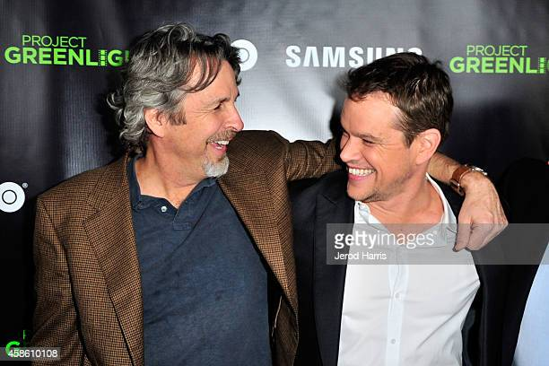 Peter Farrelly and Matt Damon attend the 'Project Greenlight' event at Boulevard3 on November 7 2014 in Hollywood California