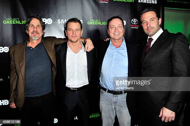 Peter Farrelly Matt Damon Bobby Farrelly and Ben Affleck attend the 'Project Greenlight' event at Boulevard3 on November 7 2014 in Hollywood...