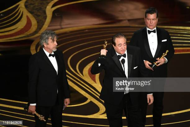 Peter Farrelly Nick Vallelonga and Brian Currie accept the Original Screenplay award for 'Green Book' onstage during the 91st Annual Academy Awards...