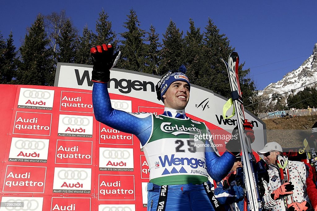 Peter Fill of Italy celebrates 3rd place during the FIS Skiing World Cup Men's Downhill on January 13, 2007 in Wengen, Switzerland.