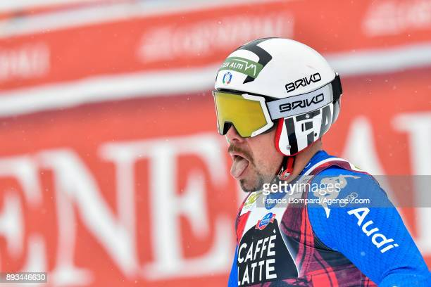 Peter Fill of Italy celebrates during the Audi FIS Alpine Ski World Cup Men's Super G on December 15 2017 in Val Gardena Italy