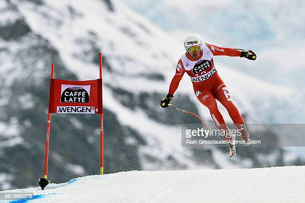Peter Fill of Italy competes during the Audi FIS Alpine Ski World Cup Men's Downhill Training on January 15 2015 in Wengen Switzerland