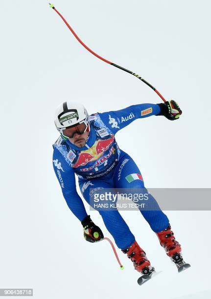 Peter Fill of Italy performs during a training session of the FIS Alpine World Cup Men's downhill event in Kitzbuehel Austria on January 18 2018 /...