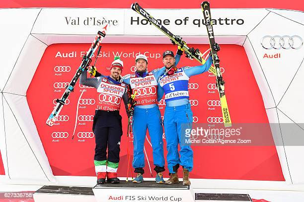 Peter Fill of Italy takes 2nd place, Kjetil Jansrud of Norway takes 1st place, Aksel Lund Svindal of Norway takes 3rd place during the Audi FIS...