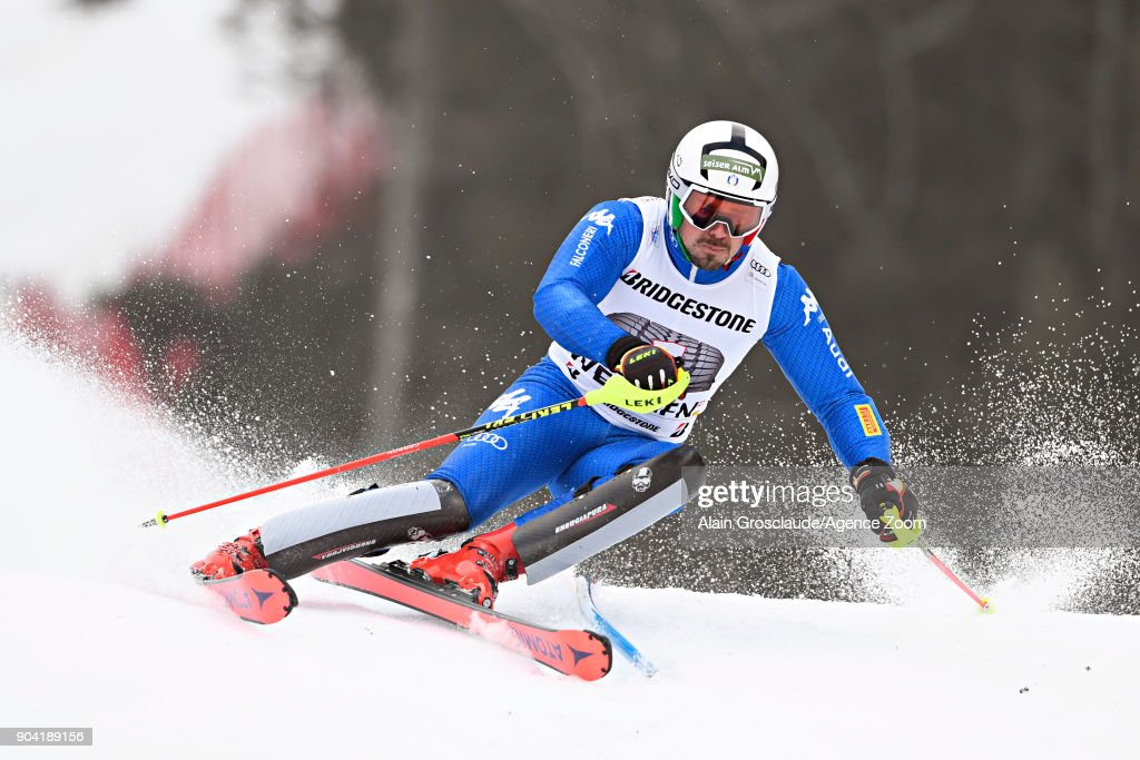 Peter Fill of Italy takes 3rd place during the Audi FIS Alpine Ski World Cup Men's Combined on January 12, 2018 in Wengen, Switzerland.