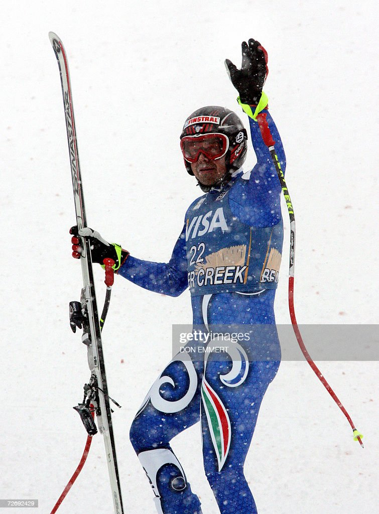 Peter Fill of Italy waves to the crowd in the finish area after racing the men's World Cup Alpine downhill 01 December, 2006 in Beaver Creek, Colorado. Fill finished in fourth place.
