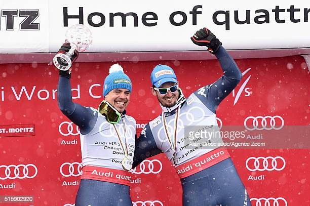 Peter Fill of Italy wins the downhill crystal globe Dominik Paris of Italy takes 3rd place in the overall downhill standings during the Audi FIS...
