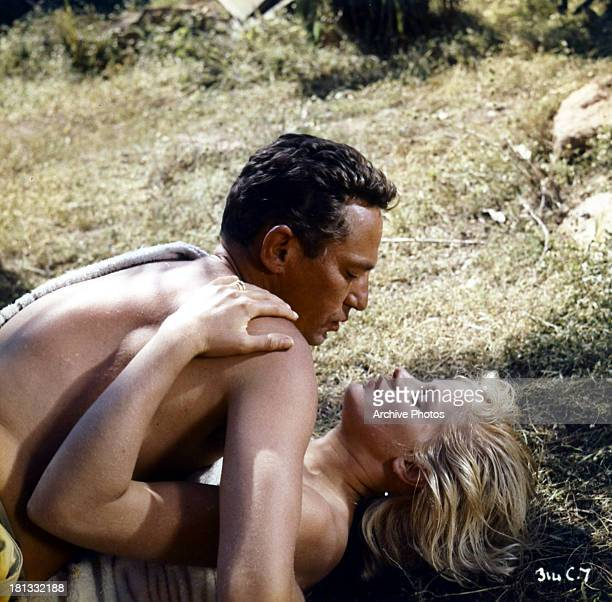 Peter Finch and Mary Ure in a scene from the film 'Windom's Way', 1957.