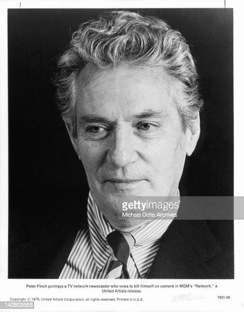 Peter Finch in a publicity portrait from the film 'Network' 1976
