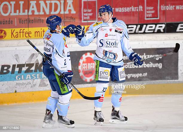 Peter Flache and Stefan Loibl of Straubing Tigers celebrate after scoring the 1:1 during the game between HC TWK Innsbruck and Straubing Ice Tigers...