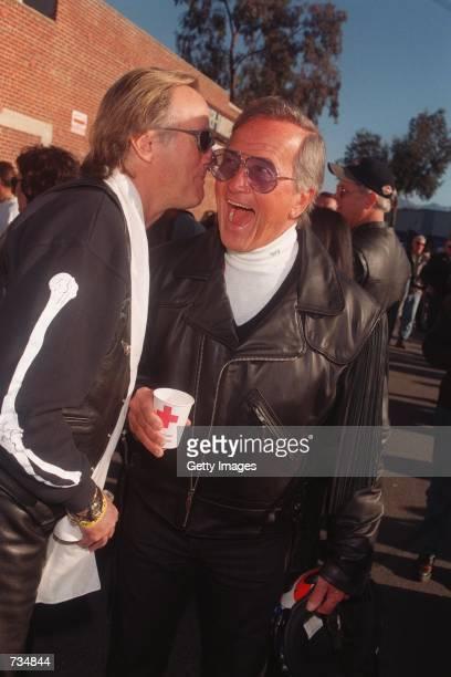 Peter Fonda and Pat Boone share a laugh November 12 2000 at Love Ride 17 in Glendale CA