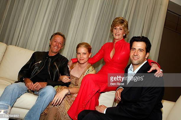 Peter Fonda Bridget Fonda Jane Fonda and Troy Garity pose for a family portrait inside the Three Generations of Fonda on Film benefit at the Woodruff...