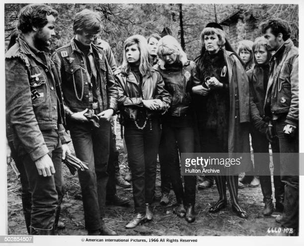 Peter Fonda Nancy Sinatra Diane Ladd Joan Shawlee and Norman Alden stand in a group in a scene from the movie The Wild Angels circa 1966