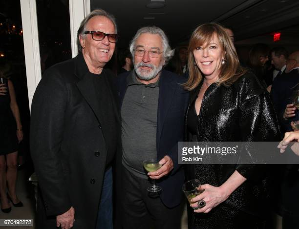 Peter Fonda Robert De Niro and Jane Rosenthal attend the 2017 Tribeca Film Festival Opening Night Party at Tavern On The Green on April 19 2017 in...