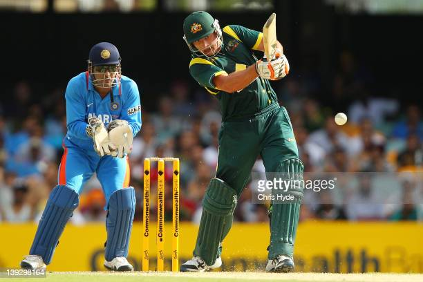 Peter Forrest of Australia bats during game seven of the One Day International series between Australia and India at The Gabba on February 19, 2012...