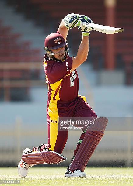 Peter Forrest of Qld plays a stroke on the off side during the Matador BBQs One Day Cup match between Queensland and Tasmania at North Sydney Oval on...