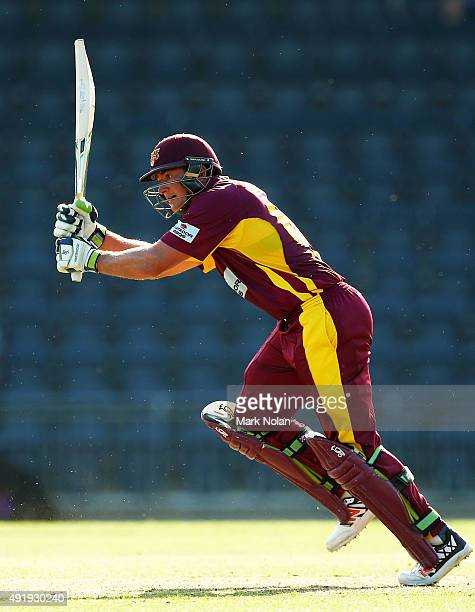 Peter Forrest of Queensland bats during the Matador BBQs One Day Cup match between Victoria and Queensland at Blacktown International Sportspark on...