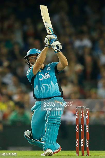 Peter Forrest of the Brisbane Heat bats during the BIg Bash League match between the Melbourne Renegades and the Brisbane Heat at Etihad Stadium on...