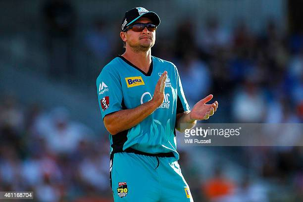 Peter Forrest of the Heat acknowledges a fielder during the Big Bash League match between the Perth Scorchers and the Brisbane Heat at WACA on...