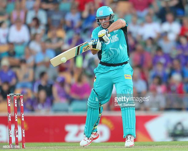 Peter Forrest of the Heat bats during the Big Bash League match between the Hobart Hurricanes and the Brisbane Heat at Blundstone Arena on January 2...