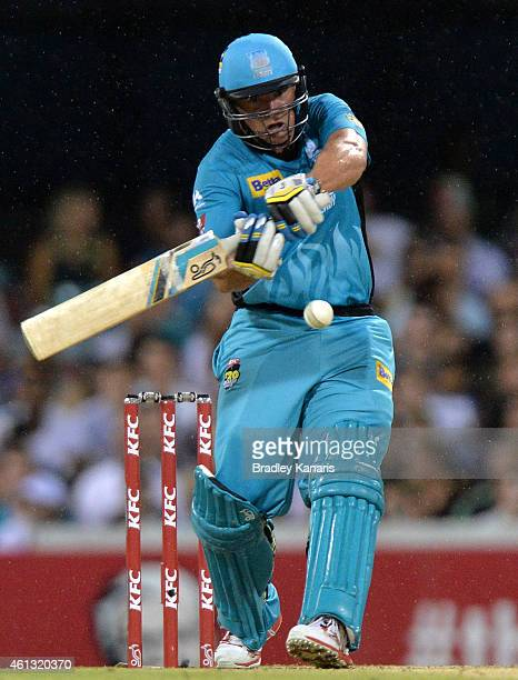 Peter Forrest of the Heat bats during the Big Bash League match between the Brisbane Heat and Sydney Sixers at The Gabba on January 11 2015 in...