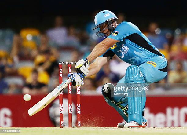 Peter Forrest of the Heat bats during the Big Bash League match between the Brisbane Heat and Hobart Hurricanes at The Gabba on January 15 2015 in...