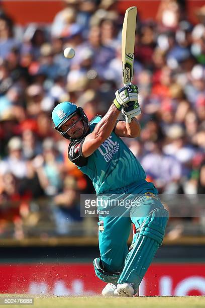 Peter Forrest of the Heat bats during the Big Bash League match between the Perth Scorchers and the Brisbane Heat at WACA on December 26 2015 in...