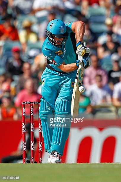 Peter Forrest of the Heat defends during the Big Bash League match between the Perth Scorchers and the Brisbane Heat at WACA on January 8 2015 in...