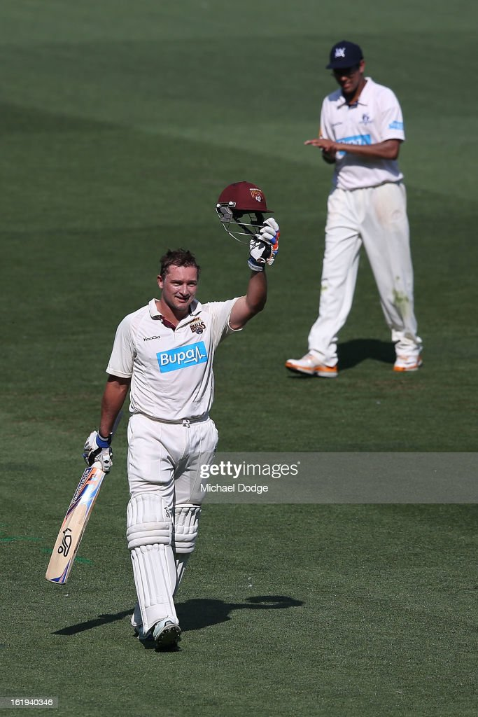 Peter Forrest of the the Queensland Bulls celebrates his century during day one of the Sheffield Shield match between the Victorian Bushrangers and the Queensland Bulls at Melbourne Cricket Ground on February 18, 2013 in Melbourne, Australia.