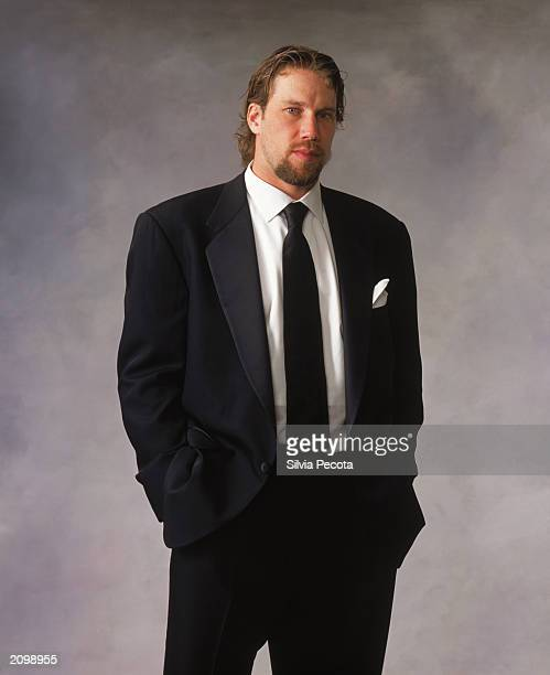 Peter Forsberg of the Colorado Avalanche poses for a portrait during the 200203 NHL Awards at the Convention Centre on June 12 2003 in Toronto Ontario