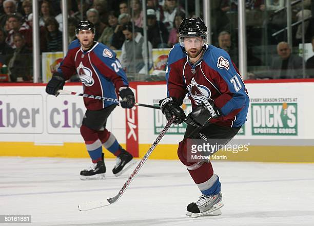 Peter Forsberg of the Colorado Avalanche skates against the Anaheim Ducks at the Pepsi Center on March 6 2008 in Denver Colorado The Avalanche...