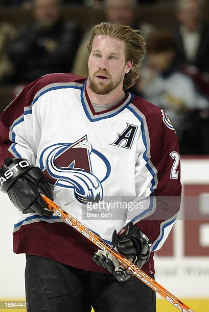 Peter Forsberg of the Colorado Avalanche skates during warm-ups prior to the NHL game against the New Jersey Devils at the Pepsi Center on February...