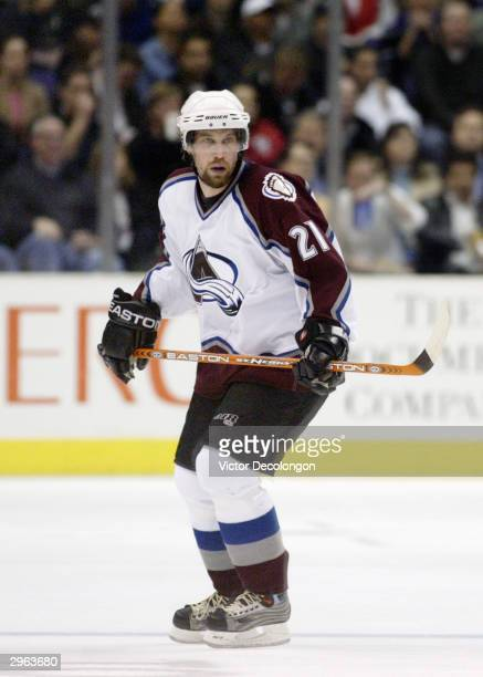 Peter Forsberg of the Colorado Avalanche skates in the neutral zone against the Los Angeles Kings on January 29 2004 at Staples Center in Los Angeles...