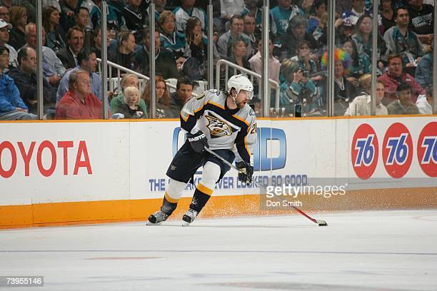 Peter Forsberg of the Nashville Predators skates with the puck during Game 4 of the 2007 Western Conference Quarterfinals against the San Jose Sharks...
