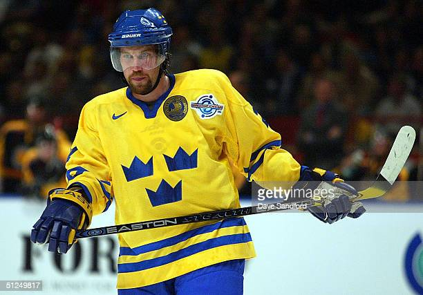 Peter Forsberg Team Sweden gets ready for the puck to drop during a game in the World Cup of Hockey tournament at the Globen Arena, on August 31,...
