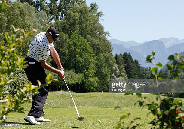 Peter Fowler of Australia in action during the final round of the Bad Ragaz PGA Seniors Open played at Golf Club Bad Ragaz on July 3, 2011 in Bad...