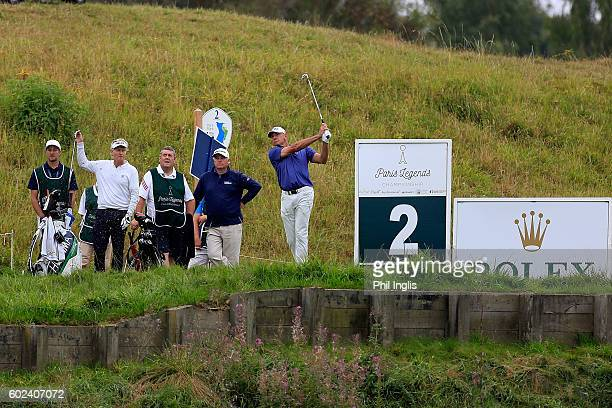 Peter Fowler of Australia in action during the final round of the Paris Legends Championship played on L'Albatros Course at Le Golf National on...