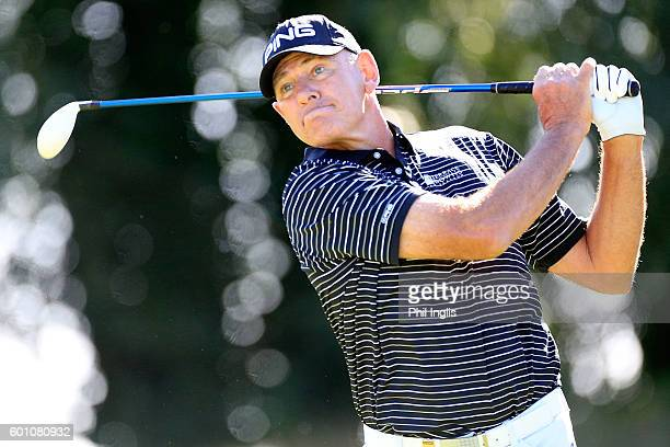 Peter Fowler of Australia in action during the first round of the Paris Legends Championship played on L'Albatros course at Le Golf National on...