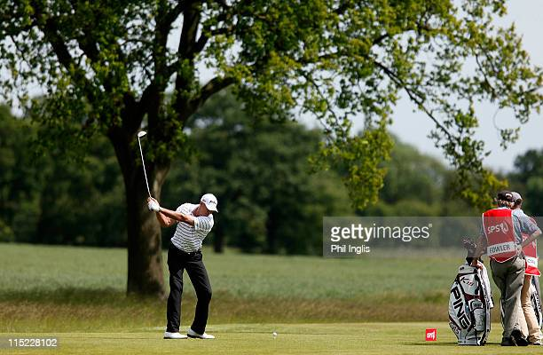 Peter Fowler of Australia in action during the second round of the Handa Senior Masters presented by the Stapleford Forum played at Stapleford Park...