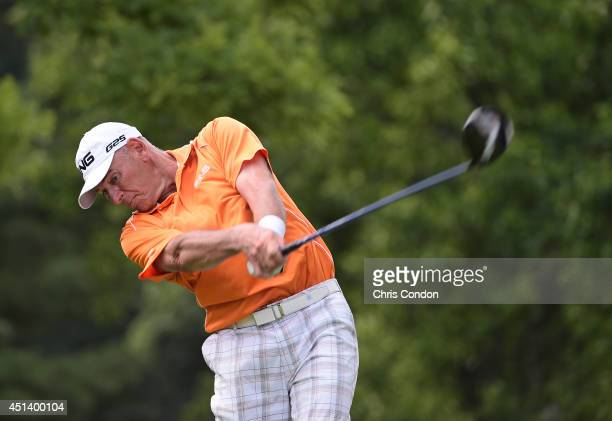 Peter Fowler of Australia ltees off on the 13th hole during the third round of the Constellation SENIOR PLAYERS Championship at Fox Chapel Golf Club...