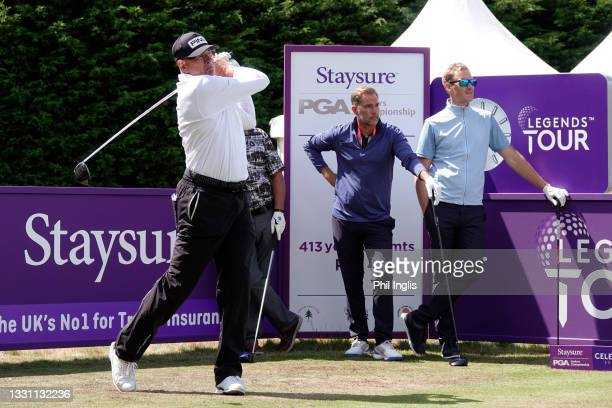 Peter Fowler of Australia with Jason McAteer and Dan Walker in action during the ProAm ahead of the Staysure PGA Seniors Championship at Formby Golf...