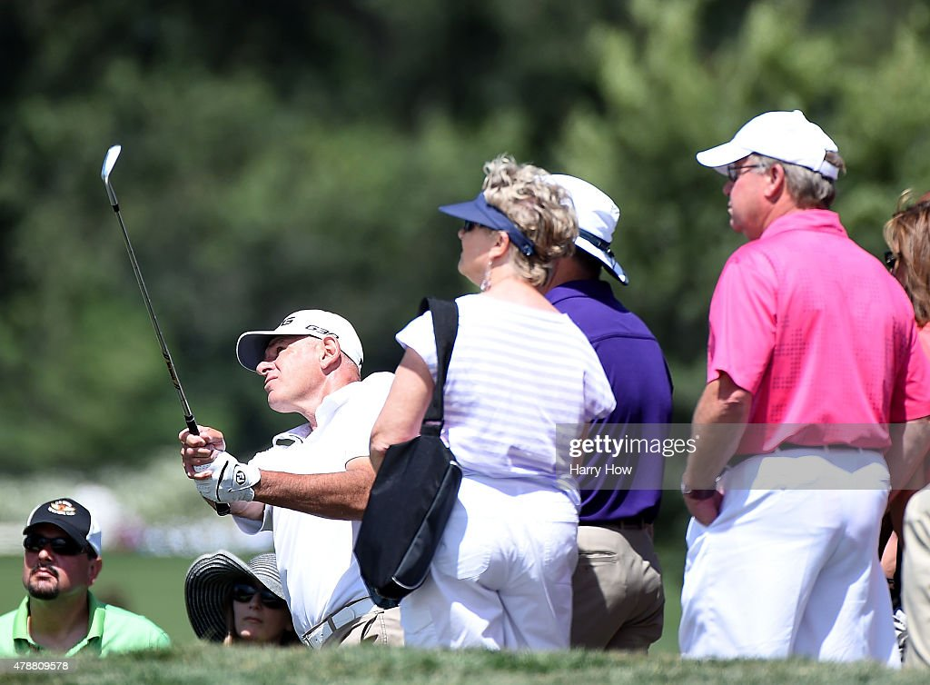 Peter Fowler of New Zealand plays out of the rough on the first hole during round three of the U.S. Senior Open Championship at the Del Paso Country Club on June 27, 2015 in Sacramento, California.