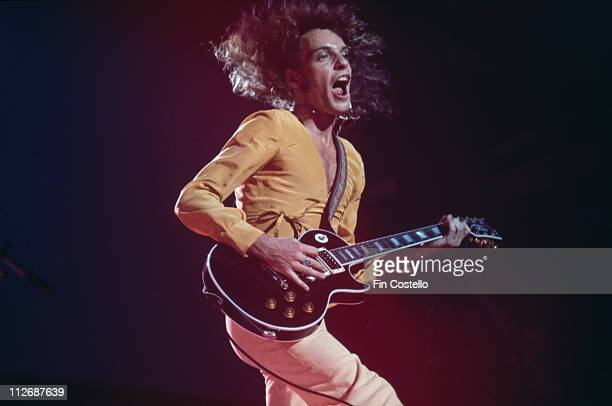 Peter Frampton British musician and singer playing the guitar during a live concert performance circa 1975